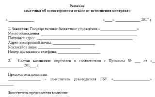 Уведомление о расторжении контракта в одностороннем порядке 44 фз