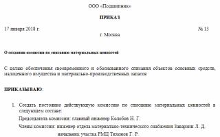Приказ о составе комиссии на списание материалов образец